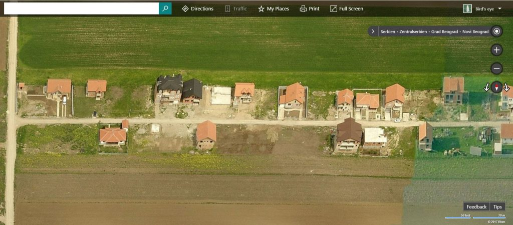 Self-provising houses in Ledine © Bing Maps imagery